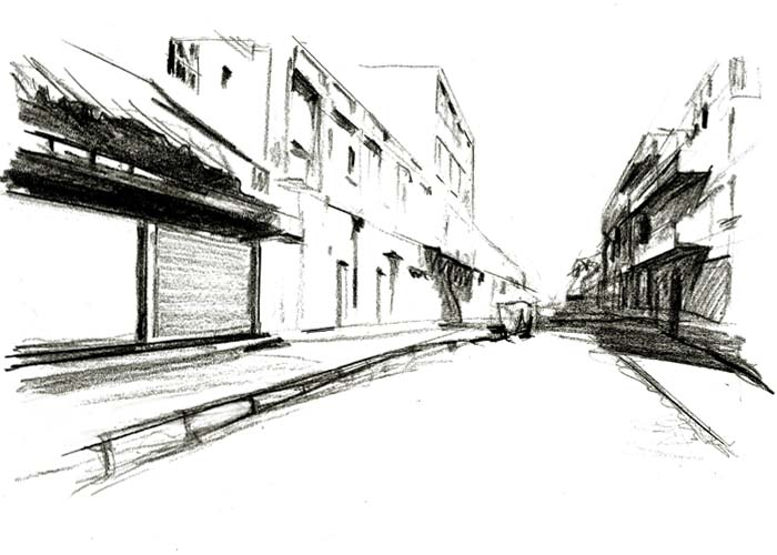 street with one point perspective drawing
